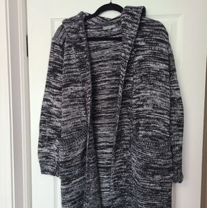 AE Hooded open front long cardigan